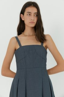 stitch flared one piece<br>grey