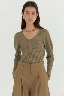 drop shoulder<br>soft V neck knit<br>4colors
