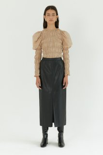 vegan leather slit skirt<br>black