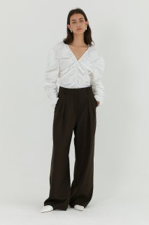 maxi wide pants<br>brown