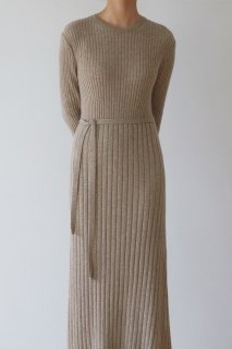 flared maxi<br>wool knit one piece<br>beige