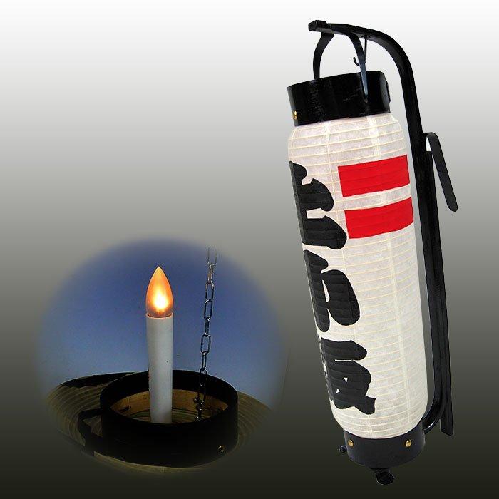 弓張提灯 LEDつき ・赤ライン型 ※防水加工済み