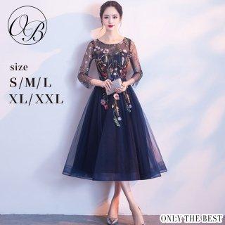 9fa7df8b21880 ... 高品質 5分袖花柄 ドレス ブルー ネイビー 花柄 結婚式 お呼ばれ ワンピース