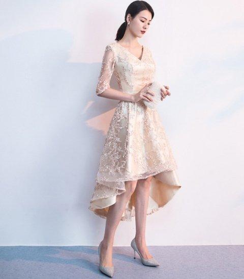 70348fe1e7168 高品質5分袖Vネック変形裾ワンピース ドレス 披露宴 二次会 同窓会 ...