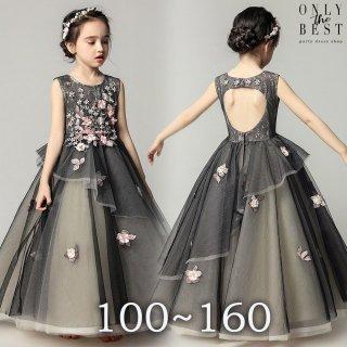 041f7d397d071 ... お花のロングドレス ブラック ピアノ 発表会 ドレス 子供 130 140 150 160 ドレス 子供