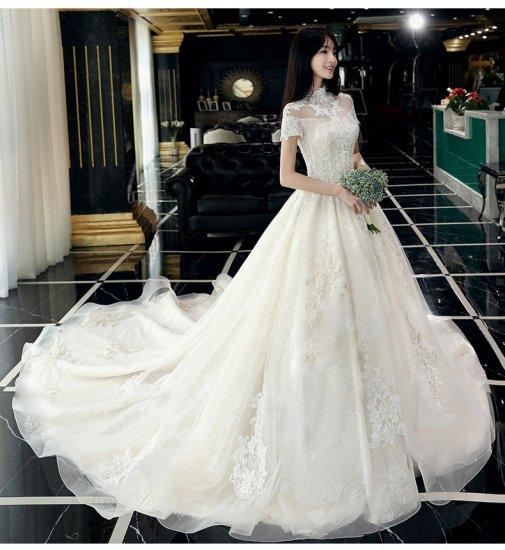 刺繍 ハイネック 半袖 Aライン ウェディングドレス 白 二次会 花嫁