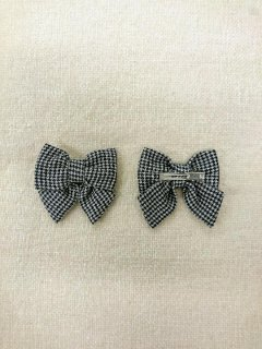HAPPYOLOGY  PERRIE BOW HAIR GRIP, BLACK GINGHAM
