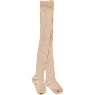 HAPPYOLOGY Ribbed Cotton Tights0M〜6Y - Almond