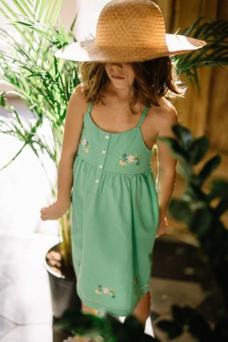 <img class='new_mark_img1' src='https://img.shop-pro.jp/img/new/icons22.gif' style='border:none;display:inline;margin:0px;padding:0px;width:auto;' />【30%OFF】HAPPYOLOGY  SUNFLOWER DRESS, GREEN 4-5Y,6-7Y,8-9Y