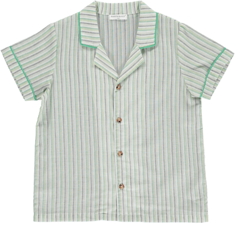 <img class='new_mark_img1' src='https://img.shop-pro.jp/img/new/icons22.gif' style='border:none;display:inline;margin:0px;padding:0px;width:auto;' />【30%OFF】HAPPYOLOGY  HARLOW SHIRT, GREEN STRIPE 4-5Y,6-7Y,8-9Y