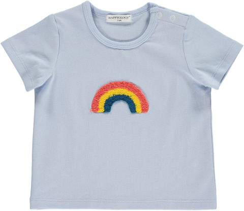 <img class='new_mark_img1' src='https://img.shop-pro.jp/img/new/icons22.gif' style='border:none;display:inline;margin:0px;padding:0px;width:auto;' />【30%OFF】HAPPYOLOGY  RUMI BABY T-SHIRT, CASHMERE BLUE, RAINBOW 0-6M,6-12M,12-18M,18-24M,2-3Y