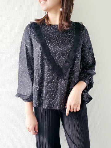 <img class='new_mark_img1' src='https://img.shop-pro.jp/img/new/icons5.gif' style='border:none;display:inline;margin:0px;padding:0px;width:auto;' />JOVONNA 2019AW Allonia Confetti Blouse