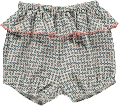 HAPPYOLOGY  Rylee Organic Cotton Bloomers, Orange Tile 0〜18M