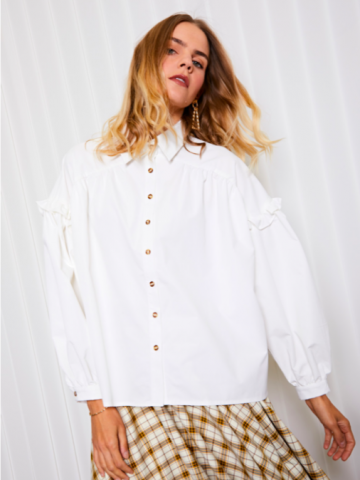 <img class='new_mark_img1' src='https://img.shop-pro.jp/img/new/icons5.gif' style='border:none;display:inline;margin:0px;padding:0px;width:auto;' />GHOSPELL Pen Ruffle Oversized Blouse