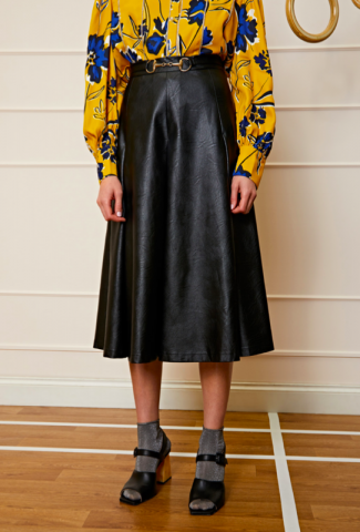 DREAM sister jane Cady Faux Leather Midi Skirt