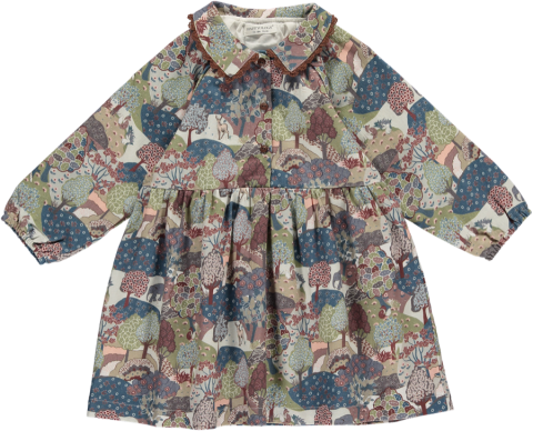HAPPYOLOGY Tessa Baby Dress, Khaki Forest