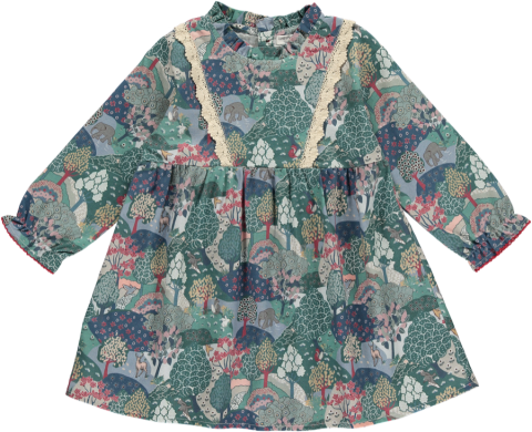 HAPPYOLOGY Alyssa Baby Dress, Green Forest