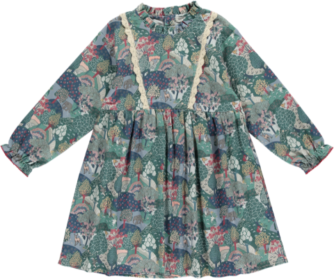 HAPPYOLOGY Alyssa Dress, Green Forest