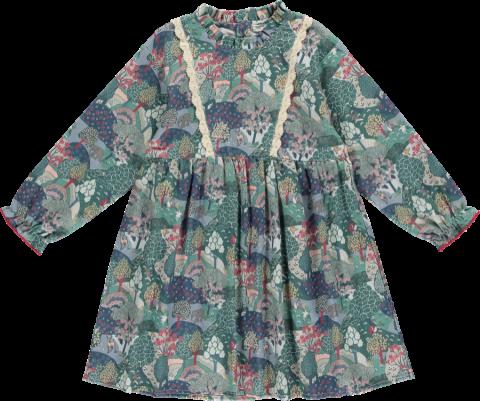HAPPYOLOGY Alyssa Dress, Green Forest 4~8Y