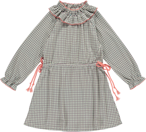 <img class='new_mark_img1' src='https://img.shop-pro.jp/img/new/icons5.gif' style='border:none;display:inline;margin:0px;padding:0px;width:auto;' />HAPPYOLOGY Birdie Organic Cotton Dress, Orange Tile 4~8Y
