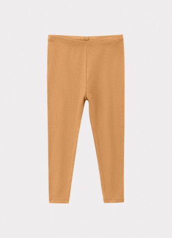 HAPPYOLOGY Kids Ribbed Organic Cotton Jersey Leggings, Camel