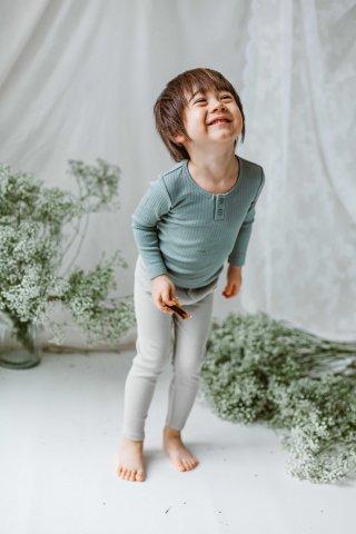 HAPPYOLOGY Kids Ribbed Organic Cotton Jersey Long-sleeve Top, Alga
