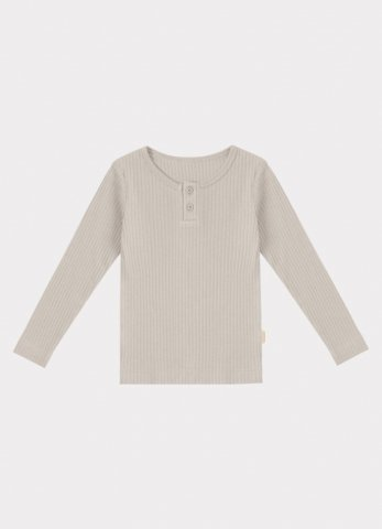 <img class='new_mark_img1' src='https://img.shop-pro.jp/img/new/icons5.gif' style='border:none;display:inline;margin:0px;padding:0px;width:auto;' />HAPPYOLOGY Ribbed Organic Cotton Jersey Long-sleeve Top, Baby Grey