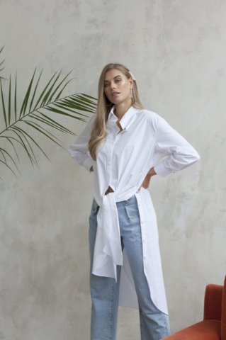 <img class='new_mark_img1' src='https://img.shop-pro.jp/img/new/icons5.gif' style='border:none;display:inline;margin:0px;padding:0px;width:auto;' />JOVONNA Slub Shirt Dress-WHITE