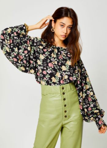GHOSPELL Flora Form Oversized Blouse