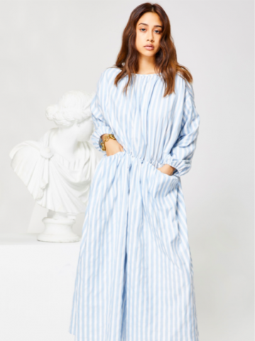 GHOSPELL Relic StripePocket Midi dress