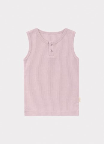 HAPPYOLOGY Kids Ribbed Organic Cotton Jersey Vest, Lilac
