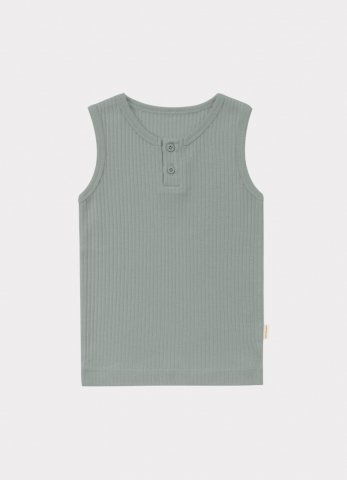 HAPPYOLOGY Baby Ribbed Organic Cotton Jersey Vest, Alga