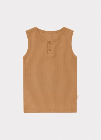 HAPPYOLOGY Kids Ribbed Organic Cotton Jersey Vest, Camel