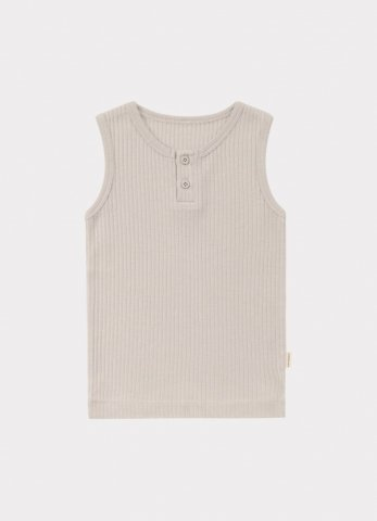 HAPPYOLOGY Kids Ribbed Organic Cotton Jersey Vest, Baby Grey