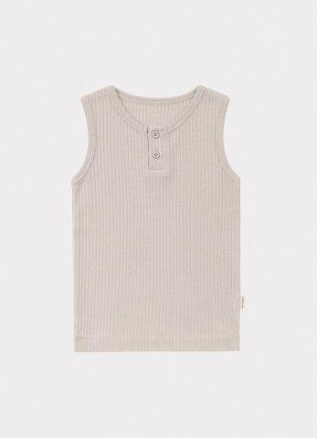 HAPPYOLOGY Kids Ribbed Organic Cotton Jersey Vest, Baby Grey