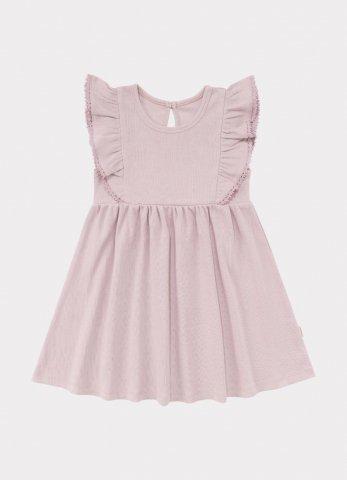 【オーガニックワンピース】HAPPYOLOGY Baby Olivia Ribbed Organic Cotton Jersey Dress, Lilac