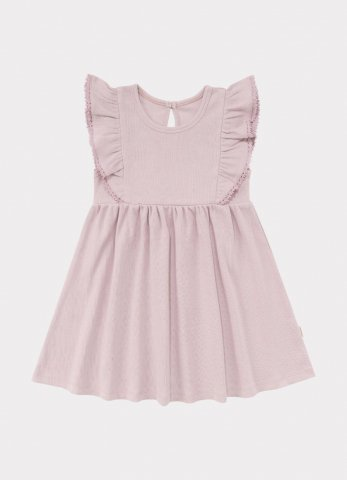 HAPPYOLOGY Kids Olivia Ribbed Organic Cotton Jersey Dress, Lilac