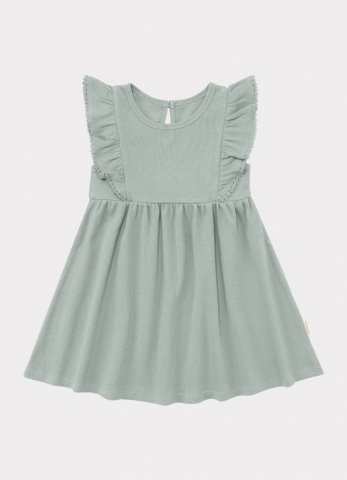 【オーガニックワンピース】HAPPYOLOGY Kids Olivia Ribbed Organic Cotton Jersey Dress, Alga
