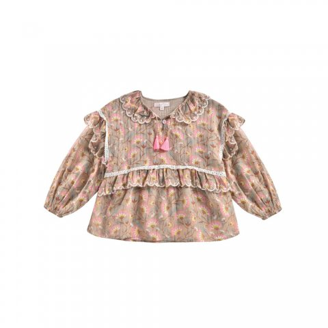 <img class='new_mark_img1' src='https://img.shop-pro.jp/img/new/icons5.gif' style='border:none;display:inline;margin:0px;padding:0px;width:auto;' />Louise Misha Kids Gaita Blouse, KhakiFolkFlowes