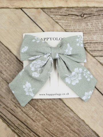 HAPPYOLOGY  Perrie Hair Bow, Antique Green Floral