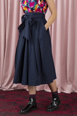 【スカート】Emily and Fin JEMIMA SKIRT, NAVY COTTON SATIN