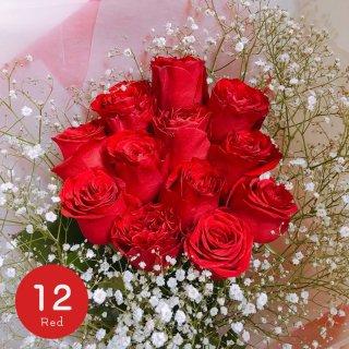 [LoveRose] プレミアムローズ 大輪バラ花束 ダーズンローズ レッド 12本