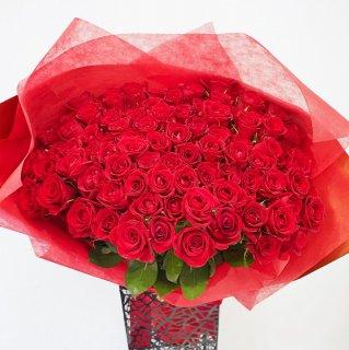 [LoveRose] プレミアムローズ 大輪バラ花束 レッド 99本