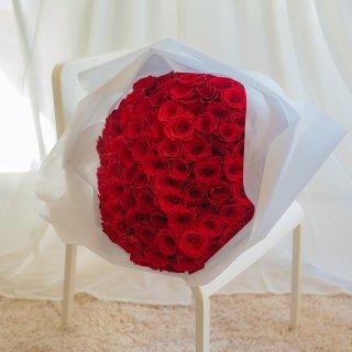 [LoveRose] プレミアムローズ 大輪バラ花束 プロポーズローズ レッド 108本