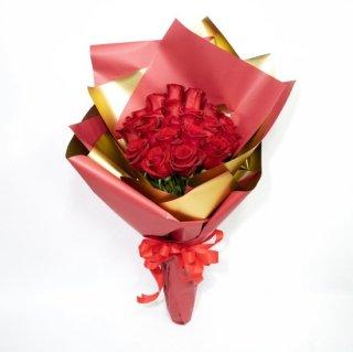 [LoveRose] プレミアムローズ 大輪バラ花束 レッド 20本