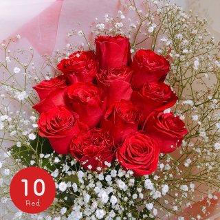 [LoveRose] プレミアムローズ 大輪バラ花束 レッド 10本