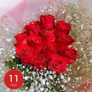 [LoveRose] プレミアムローズ 大輪バラ花束 レッド 11本