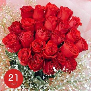 [LoveRose] プレミアムローズ 大輪バラ花束 レッド 21本