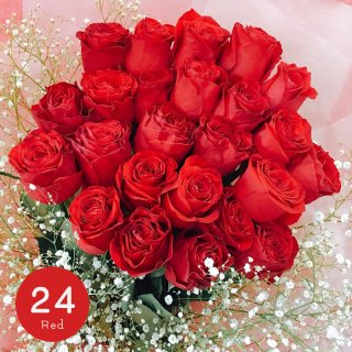 [LoveRose] プレミアムローズ 大輪バラ花束 レッド 24本