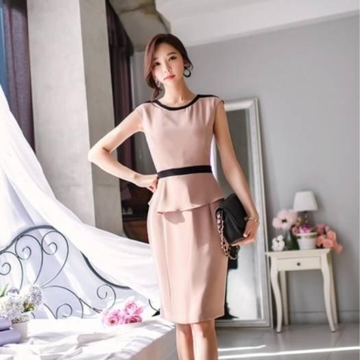 2afc7f0fa7e465 Iライン上品なひざ丈ペプラムワンピースドレス オルチャン プチプラ ...